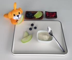 left to right: sponge doggie, green apple, blueberries, vanilla yogurt, dried raspberries