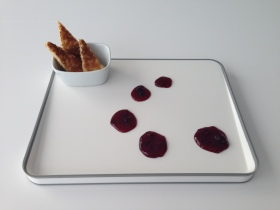 toast points, cherry jam