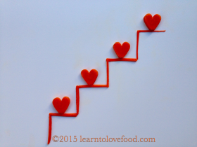carrot hearts on carrot stairs